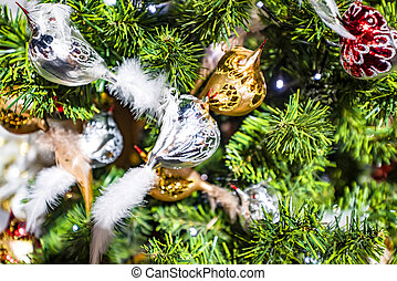 Christmas tree with bird baubles