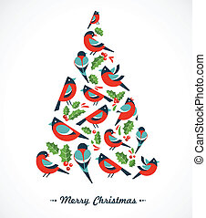 Christmas tree with birds and holly leafs, vector