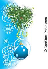Christmas tree with blue ball. Card