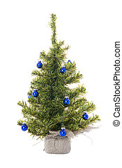 Christmas tree with blue christmas balls on the white
