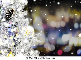 Christmas tree with bokeh light at night