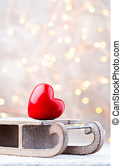 Christmas tree with bokeh wall background. - Blur light...