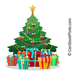 Christmas tree with bulbs and gifts