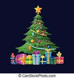 Christmas tree with bulbs, gifts and xmas balls flat vector illustration