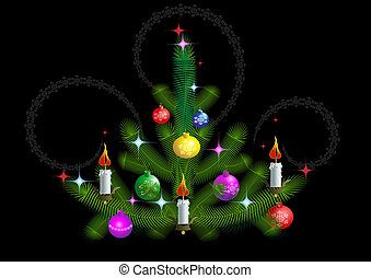 Christmas tree with candles on a bl
