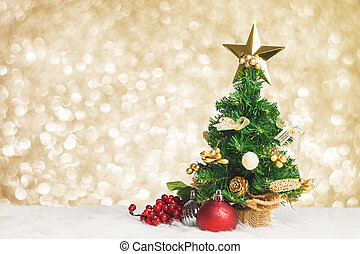 Christmas tree with cherry and ball decorate on white fur with blue gold bokeh sparkle light background, Leave space for adding your text or design, Holiday greeting card