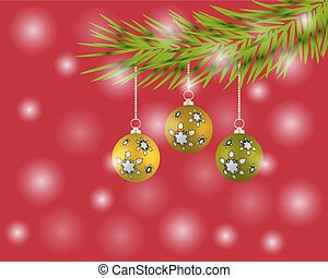 Christmas tree with colorful balls on a red background.