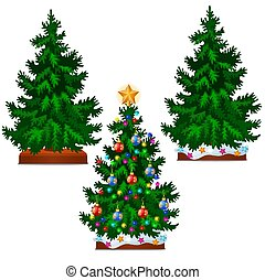 Christmas tree with colorful balls, star, toys and baubles isolated on white background. Sketch for greeting card, festive poster or party invitations.The attributes of Christmas and New year. Vector.