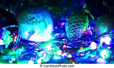 Christmas tree with Colorful bokeh and christmas lights