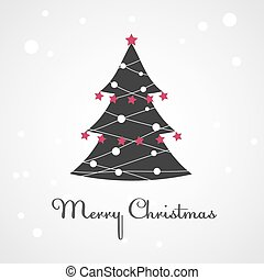Christmas tree with colorful decoration. Vector illustration