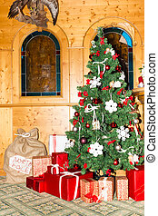 Christmas tree with colorful gifts