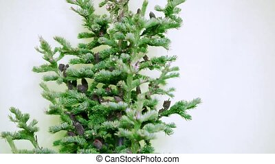 Christmas tree with cones and tinsel under tree on a white...