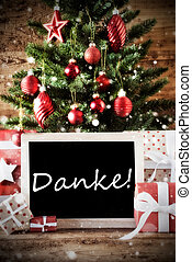 Christmas Tree With Danke Means Thank You
