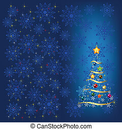 christmas tree with decoration and blue snowflakes