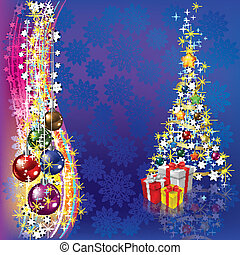 christmas tree with decoration and gifts