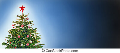 Christmas Tree With Decoration, Blue Background, Copy Space