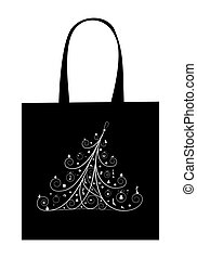 Christmas tree with decoration, design of shopping bag