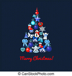 Christmas tree with decoration on a blue dotted background...