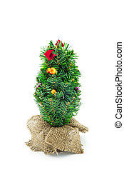 Christmas tree with decoration on white background