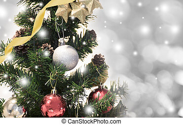 Christmas tree with decorations and snowflake on bokeh background. for Happy New Year 2018