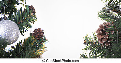 Christmas tree with decorations and white background. for Happy New Year 2018