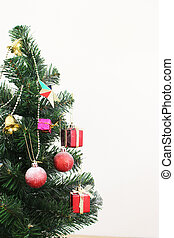 christmas tree with decorations ball and box gift on white background