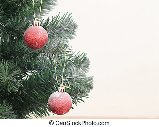 christmas tree with decorations ball on white background