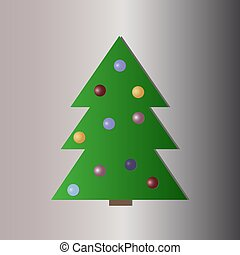 Christmas tree with decorations flat icon. Vector illustration