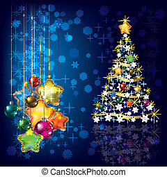Christmas tree with decorations on blue