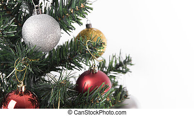 Christmas tree with decorations on white background. for Happy New Year 2018.