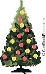 Christmas tree with decorations realistic vector illustration isolated
