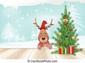 Christmas tree with deer and wooden balcony on winter background