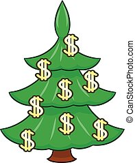 Christmas Tree With Euro Signs Illustration Of The