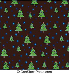Christmas tree with garland and snowflakes on brown background. Seamless pattern