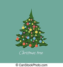 Christmas tree with garlands and balls in cartoon style. Symbol of Christmas and New Year. Vector illustration