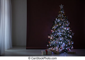Christmas tree with garlands on brown white background new year gifts