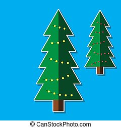 Christmas tree with garlands on isolated background. Vector image. Design element.