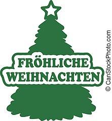 Christmas tree with german merry christmas