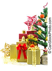 Christmas tree with gift box and decorations