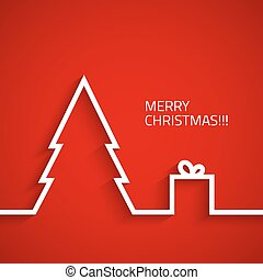Christmas tree with gift box in flat style on christmass background