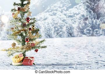 Christmas tree with gift box on snow