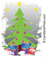 christmas tree with gift pack