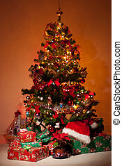Christmas tree with gifts  and lights