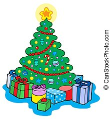 Christmas tree with gifts - isolated illustration.