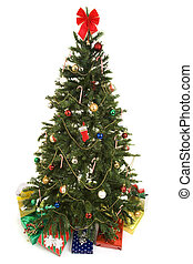 Christmas Tree with Gifts Isolated - Beautiful decorated...