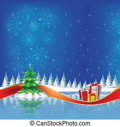 christmas tree with gifts on blue background