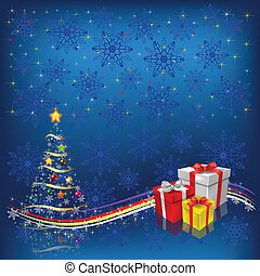 christmas tree with gifts on blue snowflakes background