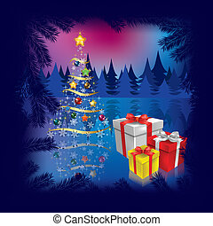 Christmas tree with gifts on dark