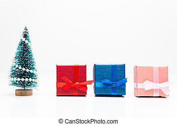 Christmas tree with gifts on white background