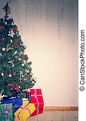 Christmas tree with gifts. Place for your text.